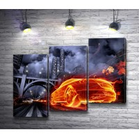Огненный автомобиль в ночном городе