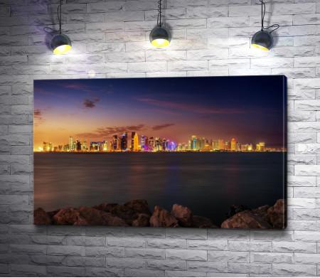 Вид на ночной Катар. Азия