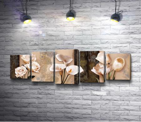 Трио - белые цветы. Розы, каллы и тюльпаны