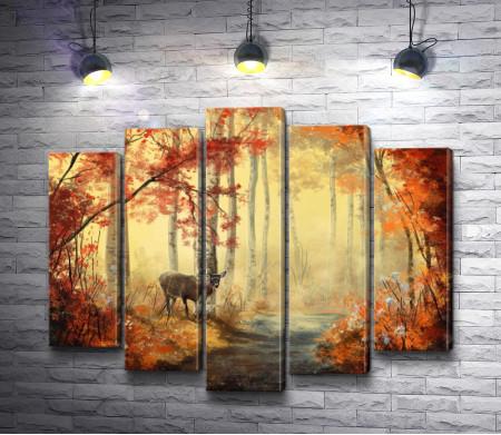 Олень в осеннем лесу