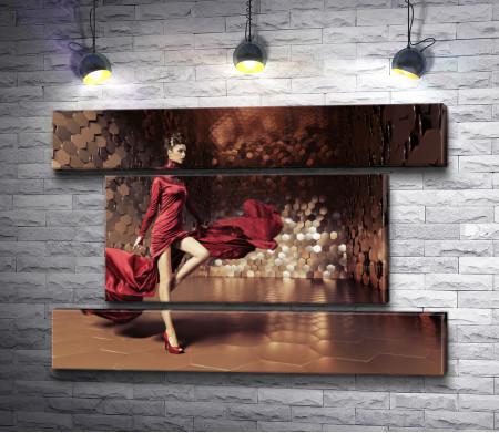 Гламурная девушка в красном платье