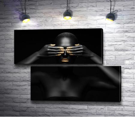 Чернокожая девушка с золотистым маникюром
