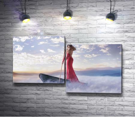 Девушка в красном платье на лодке в тумане