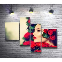 Девушка с красными розами