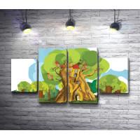 Фантастическое дерево с домиками