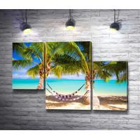 Гамак и пальмы на тропическом берегу