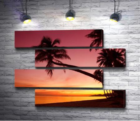 Пальмы и закат в тропиках