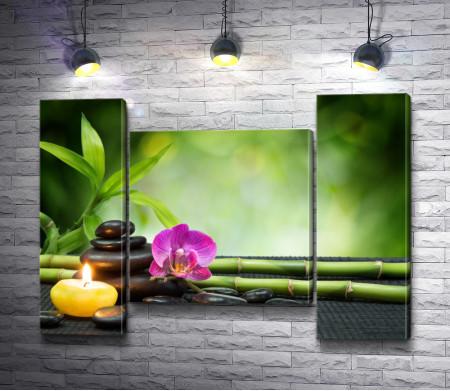 Спа композиция со свечой, камнями и цветком