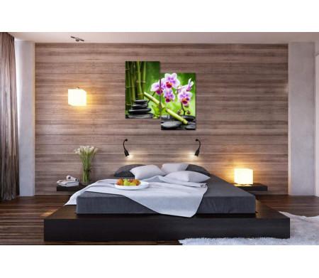 Фиолетовая орхидея, бамбук и камни спа