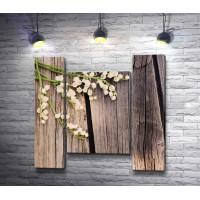 Ландыши на деревянном фоне