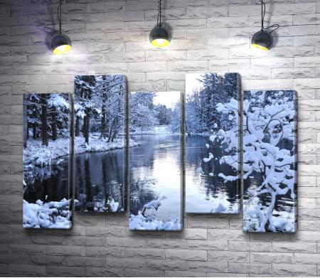 Озеро в зимнем лесу