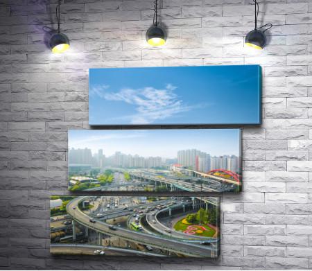 Автомобильная магистраль в час пик, Шанхай, Китай