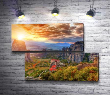 Монастыри Метеоры - живописные скалы в горах Монастыри Метеоры, Греция
