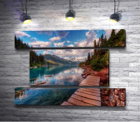 Хвойный лес и деревянный мост через реку