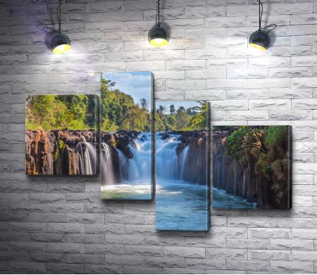 Ландшафт с каскадом водопадов Тад Фан в Лаосе