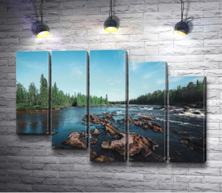 Ландшафт с порогами на реке. Карелия, Россия