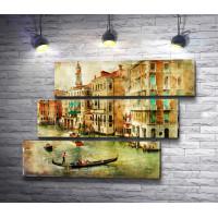 Гондолы с туристами на Гранд-канале. Венеция, Италия