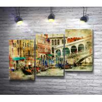 Венецианские гондольеры с туристами. Винтаж