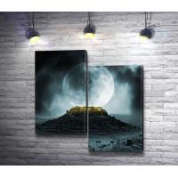 Темный замок на развалинах и огромная луна