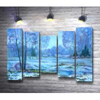 Зимний голубой пейзаж