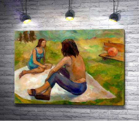 Две женщины на пикнике