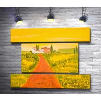 Дорога домой через поле. Тосканская долина