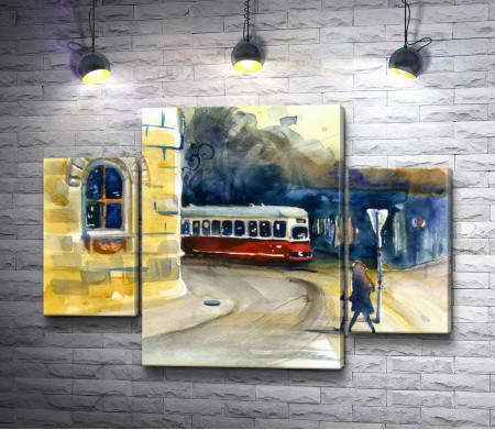 Трамвайная остановка. Городской пейзаж