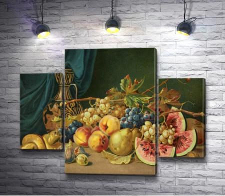 Натюрморт с фруктами, осенними листьями и вазой