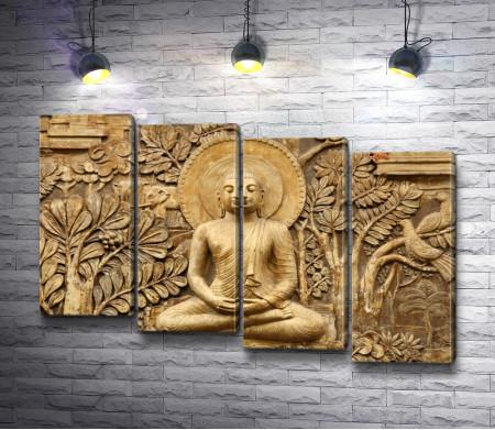 Будда,  вырезанный из дерева