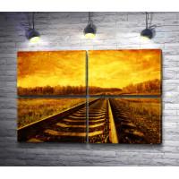 Железная дорога уходит в закат