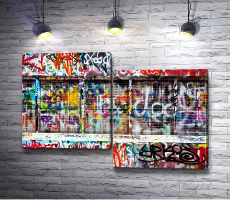 Стена в цветном граффити