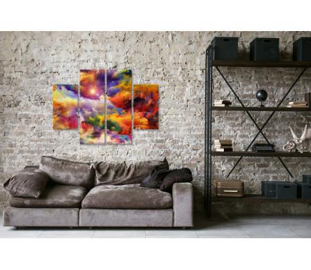 Дом и скала в ярких красках