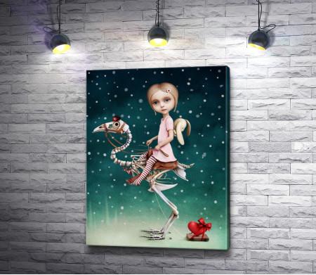 Девочка на драконе-скелете