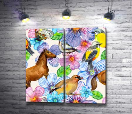 Лошадь,  птицы и бабочка в цветах