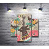 Олень и птицы на фоне цветов