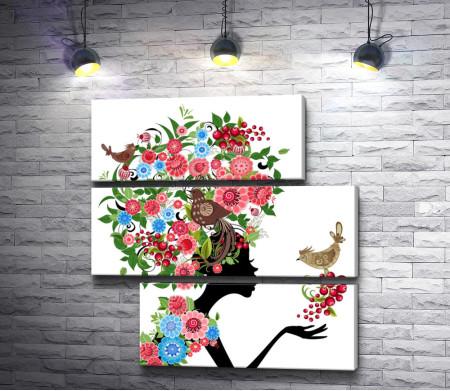 Девушка в цветах с птицами