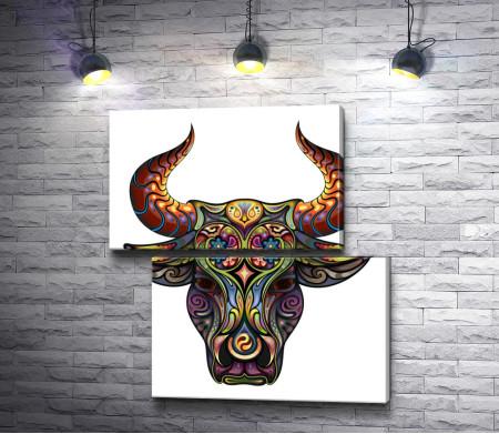 Голова быка из узоров