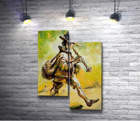 Блуждающий музыкант играет на трубе
