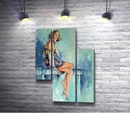 Девушка с бокалом вина и сигаретой