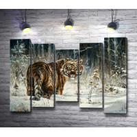 Прогулка тигра по зимнему лесу