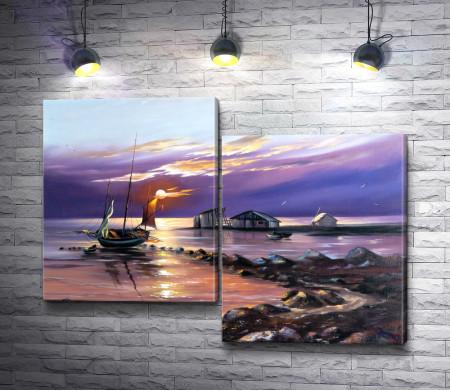 Домик рыбака и лодка в море