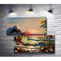 Морской пейзаж с пальмами и чайками