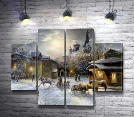 Зимний пейзаж в сумерках