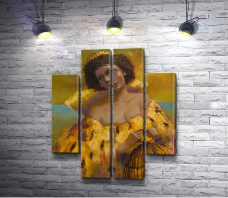 Лилия Кулианионак - Женщина в желтом с клеткой в руках