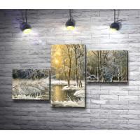 Заснеженные деревья зимой у реки