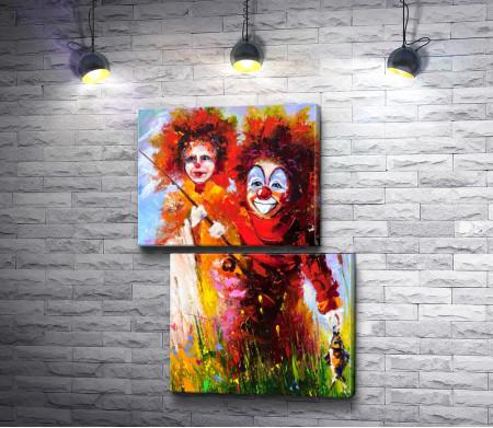 Клоуны с удочкой и рыбой