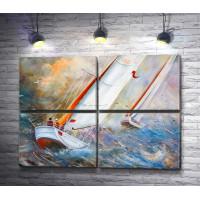 Две яхты в шторм на море