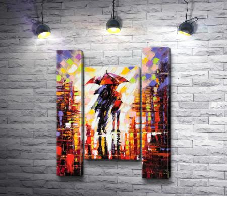 Двое влюбленных под зонтом