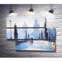 Влюбленная пара на прогулке. Карлов Мост, Прага