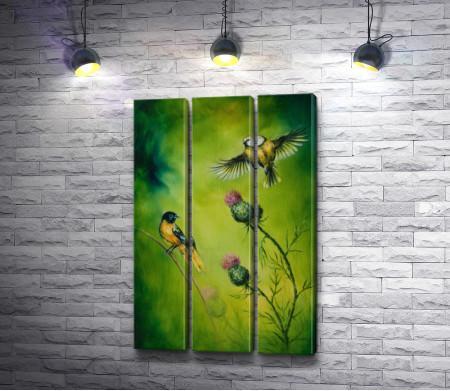 Желтогрудые птички и цветы чертополоха